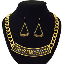 """Celebrity Style Gold Statement """"Trust No Bitch"""" Chain Link Necklace"""