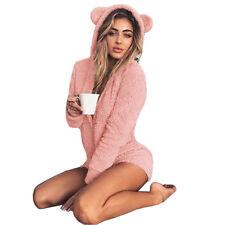 Womens Winter Warm Fluffy Fleece Hooded Short Romper Jumpsuit Sleepwear Pajamas