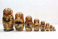 "Vintage Unique Russian Nesting Dolls Matryoshka 10"" Tall Set/9 1994 Signed EUC"