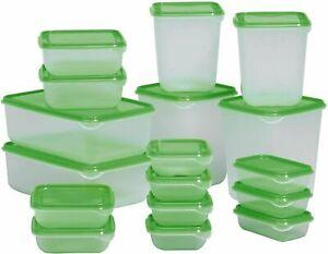 17 PC Plastic FOOD CONTAINER Sets Fridge Freezer Storage Tubs & Lids Green