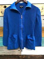 Giorgio Armani Womens Zip Up Long Sleeve Ribbed Jacket Blue Size 40