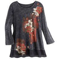Jess & Jane Women's Spring Blossoms Tunic - Gray Floral Print Shirt, 3/4 Sleeve