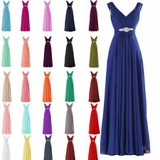 Beading Long Chiffon Bridesmaid Dress Plus Formal Evening Prom Pageant Gown