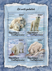 Central African Rep Wild Animals Stamps 2018 MNH Polar Bears Mammals 4v M/S