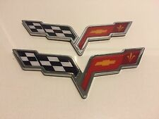 X2 PIECES ❌ CORVETTE Cross Flags SIGN CHEVROLET car TRUCK EMBLEM logo DECAL .03