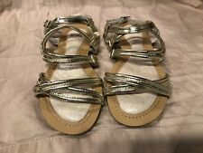 Stuart Weitzman Carmia Strappy Sandals Champane Gold Metallic Girls Size 2
