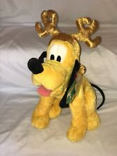 "Disney Store Exclusive Pluto Plush Christmas Reindeer 15"" Jingle Bells Collar"