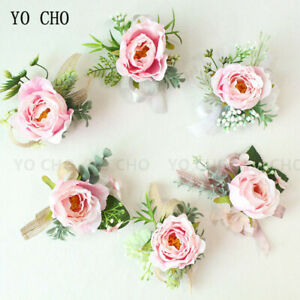 Pink Wedding Wrist Boutonniere Rose Flower Corsage Bridesmaid Clothing Accessor