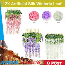 12X Artificial Silk Wisteria Leaf Garden Hanging Flower Ivy Garland Vine Wedding