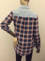 Cotton Express junior Button Down Shirt plaid light blue denim Long sleeves