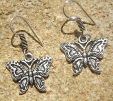 Ethnic Indian boho style alloy drop earrings silver tone butterfly design