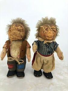 """Vintage Steiff Mecki and Micki German Hedgehog Dolls 7"""" Buttons No Faces Or Tags"""