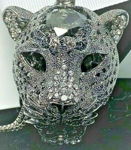 BETSEY JOHNSON  PENDANT BLACK SILVER PANTHER HEAD CRYSTALS WITH A BOX CHAIN TAG