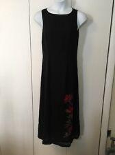 Pure Silk Dress Black Sleeveless Petite Medium Valerie Stevens Petites