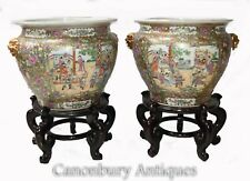 More details for pair cantonese porcelain planters on stands - chinese urn china