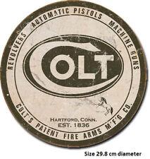 Colt Logo Gun Tin Sign 1609 Post 2-13 signs $15 flat rate.