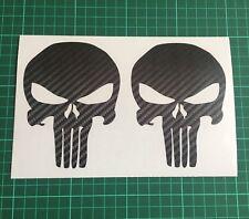 X2 Carbon Fibre Punisher Skulls Car Vinyl Stickers Decals JDM Euro 04
