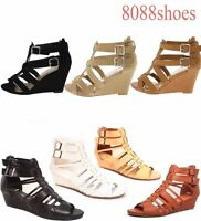 Women's Summer Buckle Strappy Open Toe Buckle Wedge Sandal Shoes Size 5.5 - 10