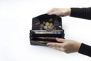 Schwarz Ledergeldbörse Portemonnaie Geldbeutel Bikerbörse * ECHT LEDER Langbörse