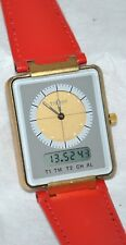 "Tissot ""Rare"" 1992 Two Timer Analog Digital Watch New Red Leather Band in Case"