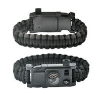 10IN1 Outdoor Emergency Survival Paracord Bracelet Gear Compass Thermometer N1