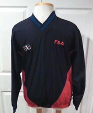 Mens Vintage Fila Windbreaker Medium Running Jacket Long Sleeve V-Neck Pullover