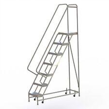 "New! 7 Step Alum Rolling Ladder-16""W Ribbed Tread-21""D Top Step-32"" Handrails!"