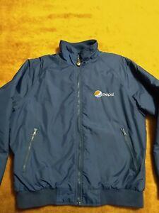 Mens L Pepsi Cola Jacket Aramark Embroidery Employee Full Zip Nylon Fleece Lined