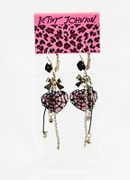 NWT Betsey Johnson Gold Pink Crystal Heart Spider Web Dangle Earrings