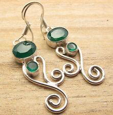 Fair Trade Online !! ART Earrings ! GREEN ONYX Gem ! 925 Silver Plated Jewelry