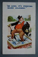 R&L Postcard: HB 3005 Smoking Drunk Man & Pocket Watch, Smashed Cold Frame