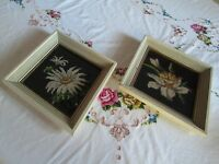 2 Retro Completed Needlepoint Floral Framed Glass 1950s 1960s Mid Century