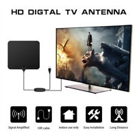 TV 80 Miles Range Flat HD Digital Indoor Amplified TV Antenna with Amplifier