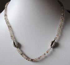 Rauchquarz Halskette mit 925 Silber, facettierte braune Edelstein Kette