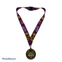 💕 Chuck E Cheese It's my Party Birthday Medal Award Purple Lanyard Necklace EUC
