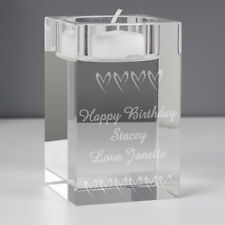Personalised Candle Holder in Glass Wedding Birthday Gift Mr and Mrs Any Message