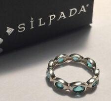 Silpada R2280 Northern Lights Aqua Blue Glass Ring  .925 Sterling Silver Size 7