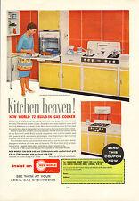 "original large colour advert ""  kitchen heaven : new world gas cooker "" 1961"