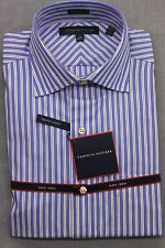 TOMMY HILFIGER Men BLUE & WHITE STRIPED REGULAR FIT DRESS SHIRT NWT 15 32-33 $70