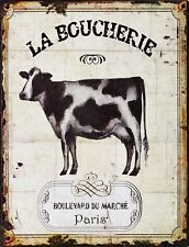 "TIN SIGN ""LeBoucherie Cow"" Place Art Deco Garage Wall Decor"