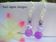 Round Purple Jade Agate Faceted Tanzanite Lilac Crystal Glass Silver Earrings