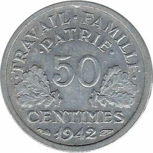 FRANCE 50 CENTIMES BAZOR 1942 TTB+