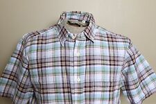 NWOT UNI QLO Men's Madras Large Plaid Short Sleeve Mens Shirt Size L Purple Blue