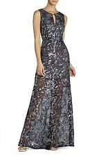 NEW BCBG PACIFIC BLUE COMBO HANNA SLEEVELESS V-NECK GOWN OKZ6W523/L238A SZ  0
