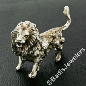 Collectible Vintage Solid Sterling Silver Detailed Lion Sculpture Figurine
