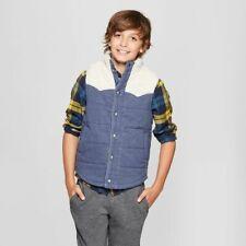 Boys' Sherpa Lined Fashion Vests - Cat & Jack™ Blue Heather S 6/7