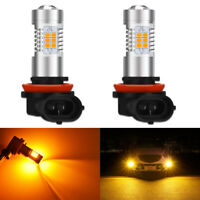 2X H8 H9 H11 CANBUS 21 SMD 2835 LED Fog Light Bulbs DRL Driving Lamp Amber White