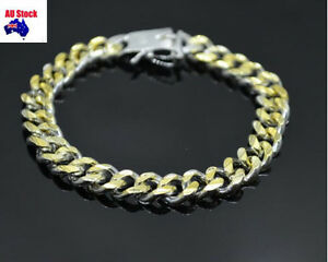 10MM 8'' Curban Curb Silver dad's Gift Mens Bracelet Bangle +Jewellery Bag Pouch