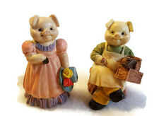 Pig Figurines Man Carpenter and Women with Hat Set of 2 JC Vtg 1991 Resin 2""