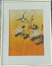 Vintage P.Chan Botanical Bird Batik on Silk Watercolor Painting Art 40's Chinese